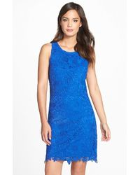 Eci | Blue Lace Sheath Dress | Lyst