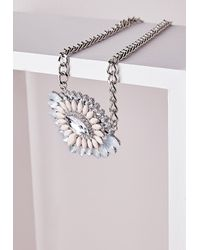 Missguided | Metallic Statement Crystal Pendant Necklace Silver | Lyst