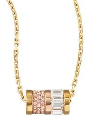 Michael Kors | Metallic Barrel Pendant Necklace | Lyst