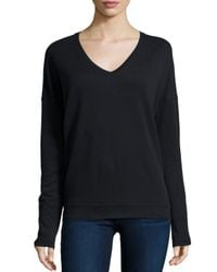 Neiman Marcus | Black Cashmere V-neck Long-sleeve Top | Lyst