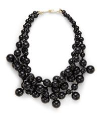 Kenneth Jay Lane | Black Three-Row Bead Cluster Necklace | Lyst