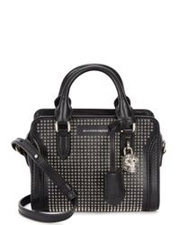 Alexander McQueen - Padlock Mini Black Leather Tote - Lyst