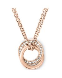 Michael Kors | Metallic Rose Goldtone Crystal Pavè Interlocked Ring Pendant Necklace | Lyst