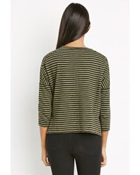 Forever 21 | Green Contemporary Striped Button-vent Top | Lyst