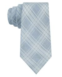 Calvin Klein | Blue Silk-Rich Plaid Tie for Men | Lyst