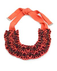 Etro | Pink Coral Ribbon Necklace | Lyst