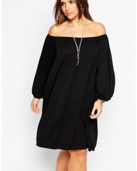 ASOS | Black Gypsy Off Shoulder Swing Dress | Lyst