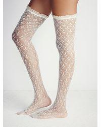 Free People - White Lacestation Otk Sock - Lyst