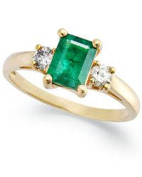 Macy's | Metallic 14k Gold Ring, Emerald (3/4 Ct. T.w.) And Diamond (1/5 Ct. T.w.) 3-stone Ring | Lyst