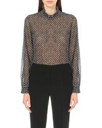 Saloni - Black Emile Polka-dot Sheer Shirt - Lyst