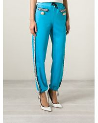 Moschino - Blue Woven Trim Track Pant - Lyst
