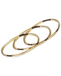 The Sak | Metallic Gold-tone Brown Thread Three-piece Bangle Bracelet Set | Lyst