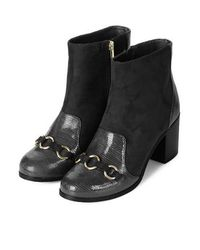 TOPSHOP - Black Bridleway Trim Boots - Lyst