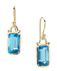 Elizabeth Showers | Green Deco Emerald-cut Topaz Earrings In 18k Gold | Lyst