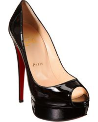 Christian Louboutin | Black Lady Peep Patent | Lyst