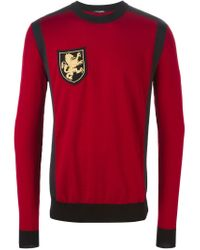 Balmain | Red Insignia Sweater for Men | Lyst
