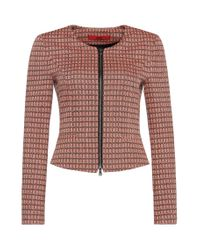 HUGO | Pink 'andrisa' | Cotton Blend Abstract Weave Jacket | Lyst