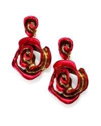 Oscar de la Renta - Red Painted Rose Clip-On Drop Earrings - Lyst