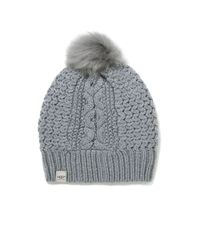 739c1fd495f66 UGG Cable Knit Nyla Beanie with Fur Pom in Gray - Lyst