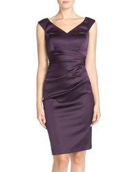 Xscape - Purple Ruched Satin Sheath Dress - Lyst