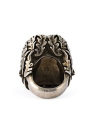 Alexander McQueen | Metallic Ivy And Skull Cocktail Ring | Lyst