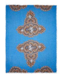 Stella McCartney - Blue Floral-Print Scarf With Fringe Trim - Lyst