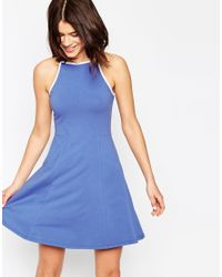 ASOS | Blue 90s High Neck Skater Dress With Contrast Trim | Lyst