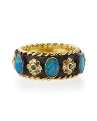 Armenta | Black Old World Thick Stackable Band Ring With Opals & Diamonds | Lyst