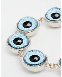 Cheap Monday - Blue Silver Eye Bracelet - Lyst