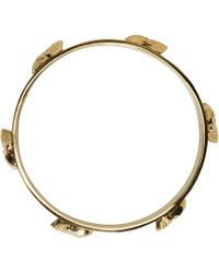 Alexander McQueen - Metallic Gold And Black Enamel 3D Skull Bracelet - Lyst