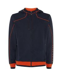 BOSS Green - Blue Piped Detail Hoodie for Men - Lyst