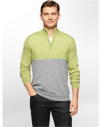 Calvin Klein | Green White Label Colorblock Merino Wool Blend 1/4 Zip Sweater for Men | Lyst