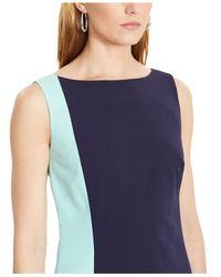Lauren by Ralph Lauren - Blue Sleeveless Colorblocked Bodycon Dress - Lyst