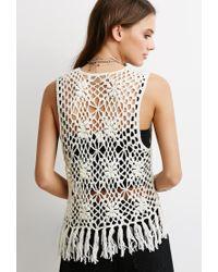 Forever 21 - Natural Fringed Floral Crochet Vest - Lyst