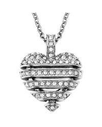 Swarovski - Metallic Rhodiumplated Small Crystal Sensible Heart Pendant Necklace - Lyst