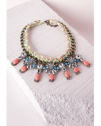 Missguided | Multicolor Statement Rope Crystal Drop Necklace Multi | Lyst