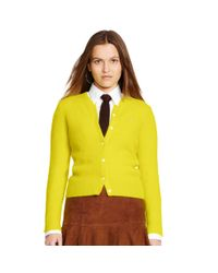 Polo Ralph Lauren | Yellow Fuzzy Wool Cardigan | Lyst