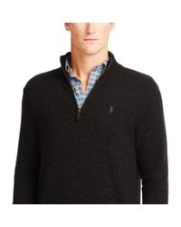 Polo Ralph Lauren - Black Merino Half-zip Sweater for Men - Lyst