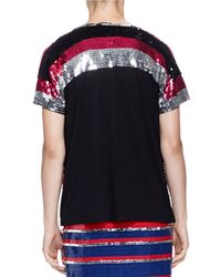 Lanvin - Multicolor Chevron Sequined Paneled Top - Lyst