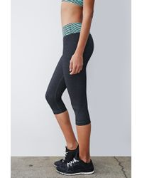 Forever 21 - Gray Heathered Stripe-waist Capri Leggings - Lyst