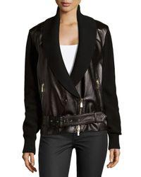 Jason Wu - Black Leather Combo Moto Jacket - Lyst