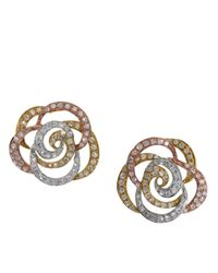 Effy | Metallic Diamond And 14k White, Yellow And Rose Gold Flower Stud Earrings, 0.61tcw | Lyst