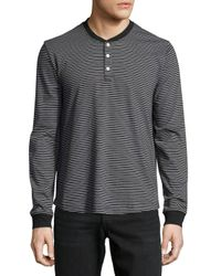 Original Penguin | Black Long-sleeve Striped Henley Tee for Men | Lyst