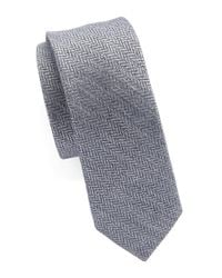 Original Penguin | Blue Silk And Cotton Herringbone Tie for Men | Lyst