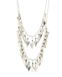 Panacea | Metallic Silvertone Hematite Pyramid Double-drop Necklace | Lyst