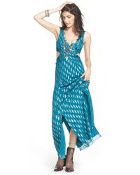 Free People | Blue 'Cross My Heart' Jacquard Maxi Dress | Lyst