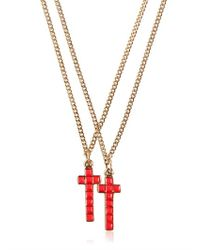 DSquared² - Red Two Metal Cross Necklaces for Men - Lyst