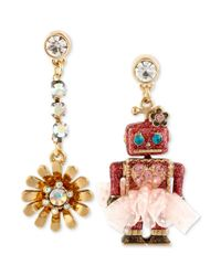 Betsey Johnson - Metallic Antique Goldtone Robot and Flower Mismatch Drop Earrings - Lyst