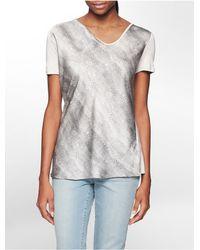 Calvin Klein - Gray Jeans Snake Print Short Sleeve Top - Lyst