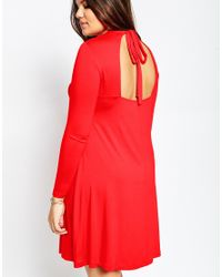ASOS - Red Bow Back Babydoll Dress - Lyst